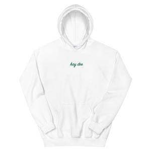 "Kappa Delta ""kay dee"" Embroidered Script Hoodie (White and Green)"