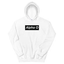 "Load image into Gallery viewer, Alpha Omicron Pi ""Alpha O"" Block Hoodie (White)"