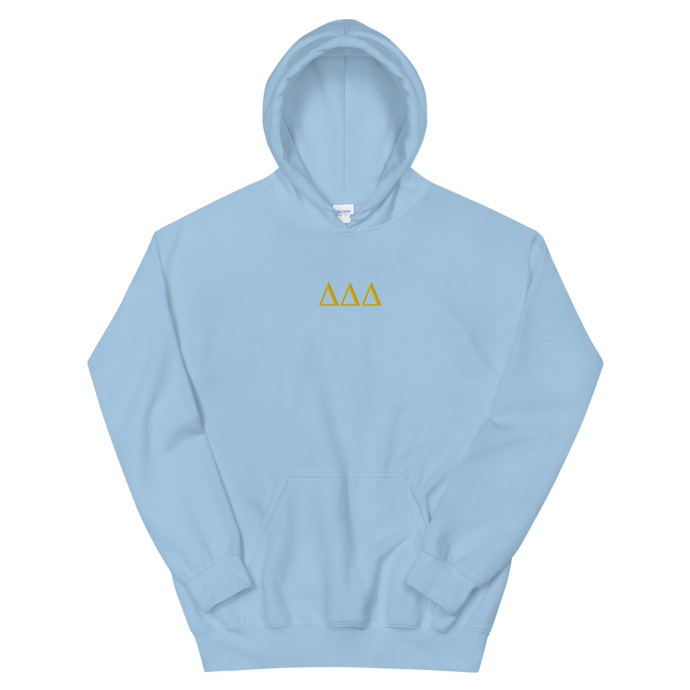 Delta Delta Delta Letters Embroidered Hoodie (Light Blue)
