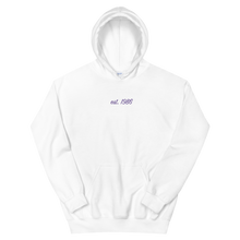 "Load image into Gallery viewer, Sigma Lambda Beta ""est. 1986"" Embroidered Script Hoodie"