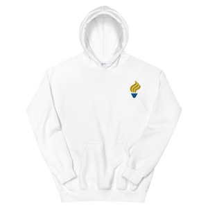 Alpha Phi Omega Torch Logo Embroidered Hoodie (White)