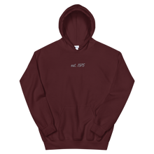 "Load image into Gallery viewer, Lambda Theta Alpha ""est. 1975"" Embroidered Script Hoodie (Maroon)"