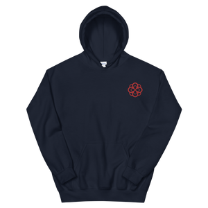 Alpha Omicron Pi Infinity Rose Embroidered Hoodie (Navy and Red)