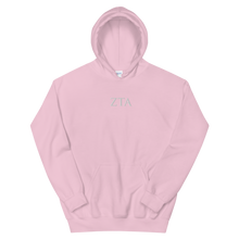 Load image into Gallery viewer, Zeta Tau Alpha Official Letters Embroidered Hoodie (Light Pink)