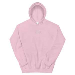 Zeta Tau Alpha Official Letters Embroidered Hoodie (Light Pink)