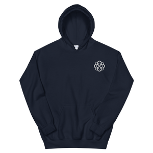 Alpha Omicron Pi Infinity Rose Embroidered Hoodie (Navy and White)