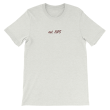 "Load image into Gallery viewer, Lambda Theta Alpha ""est. 1975"" Embroidered Script Shirt (Ash)"