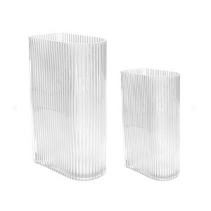 Vase / Clear Ribbed Blumenvase / 2er Set - WUUD