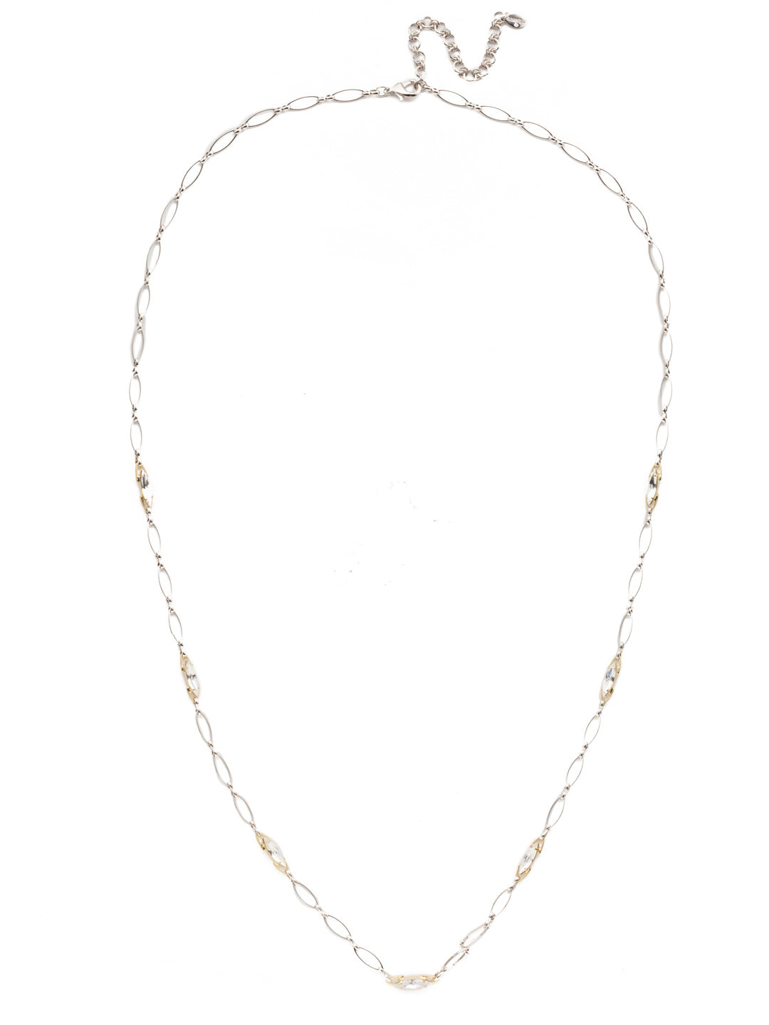 Coupled Chain Crystal Long Necklace - 4NEK17MXCRY