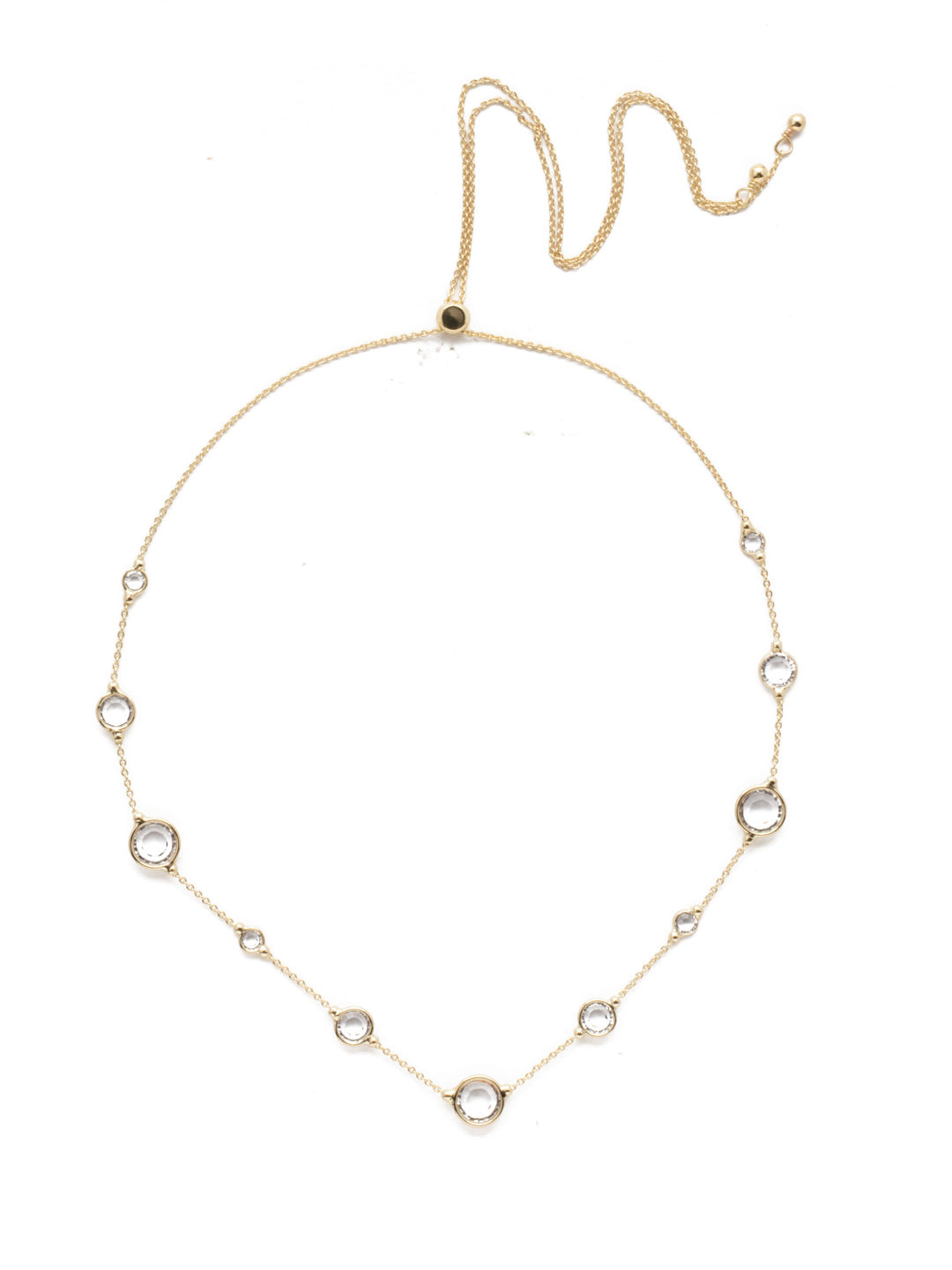 Inner Orbit Crystal Tennis Necklace - 4NEK34BGCRY