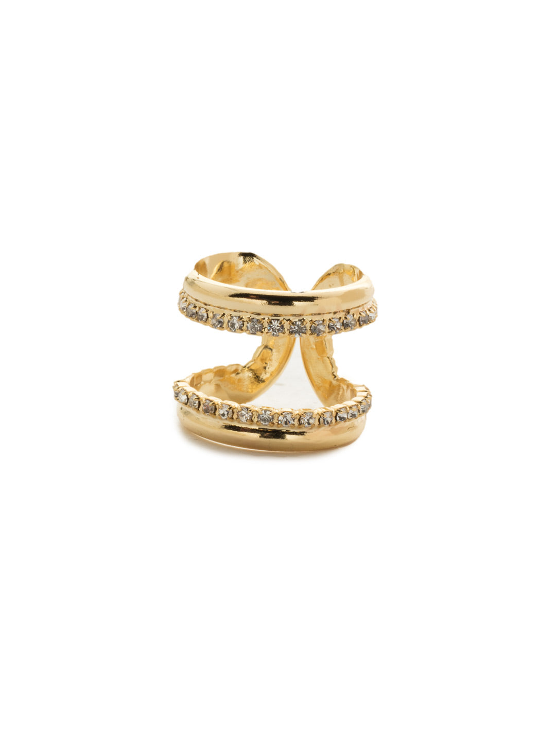 Charming Symmetry Crystal Double Band Ring - 4REK4BGCRY