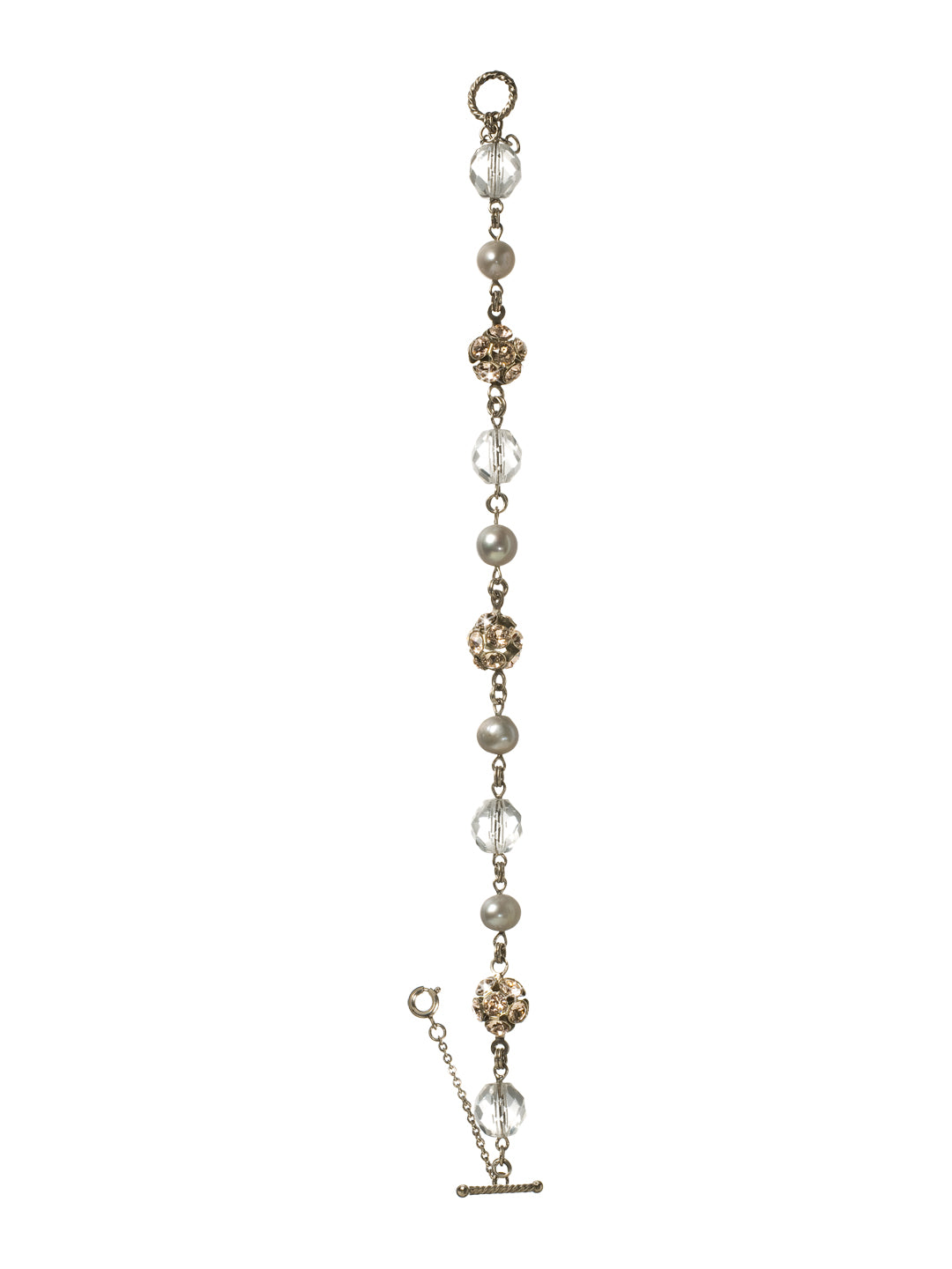 Delicate Bead and Crystal Line Tennis Bracelet - BCE16ASSNB