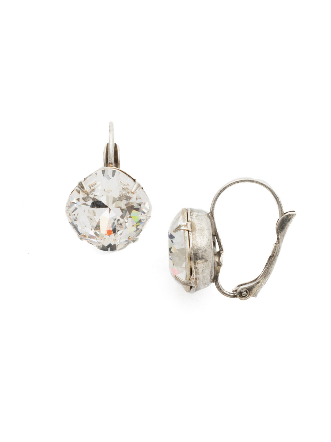 Single Drop Crystal Dangle Earrings - EBA12ASSNB