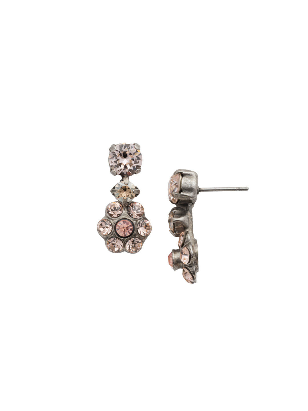 Flower Drop Dangle Earrings - EBE2ASSBL