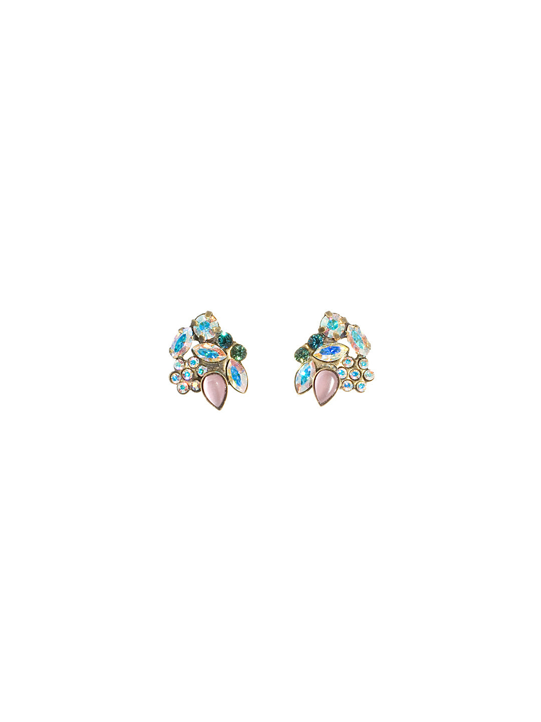 Glamourous Floral Cluster Post Earring - EBJ31AGSMI
