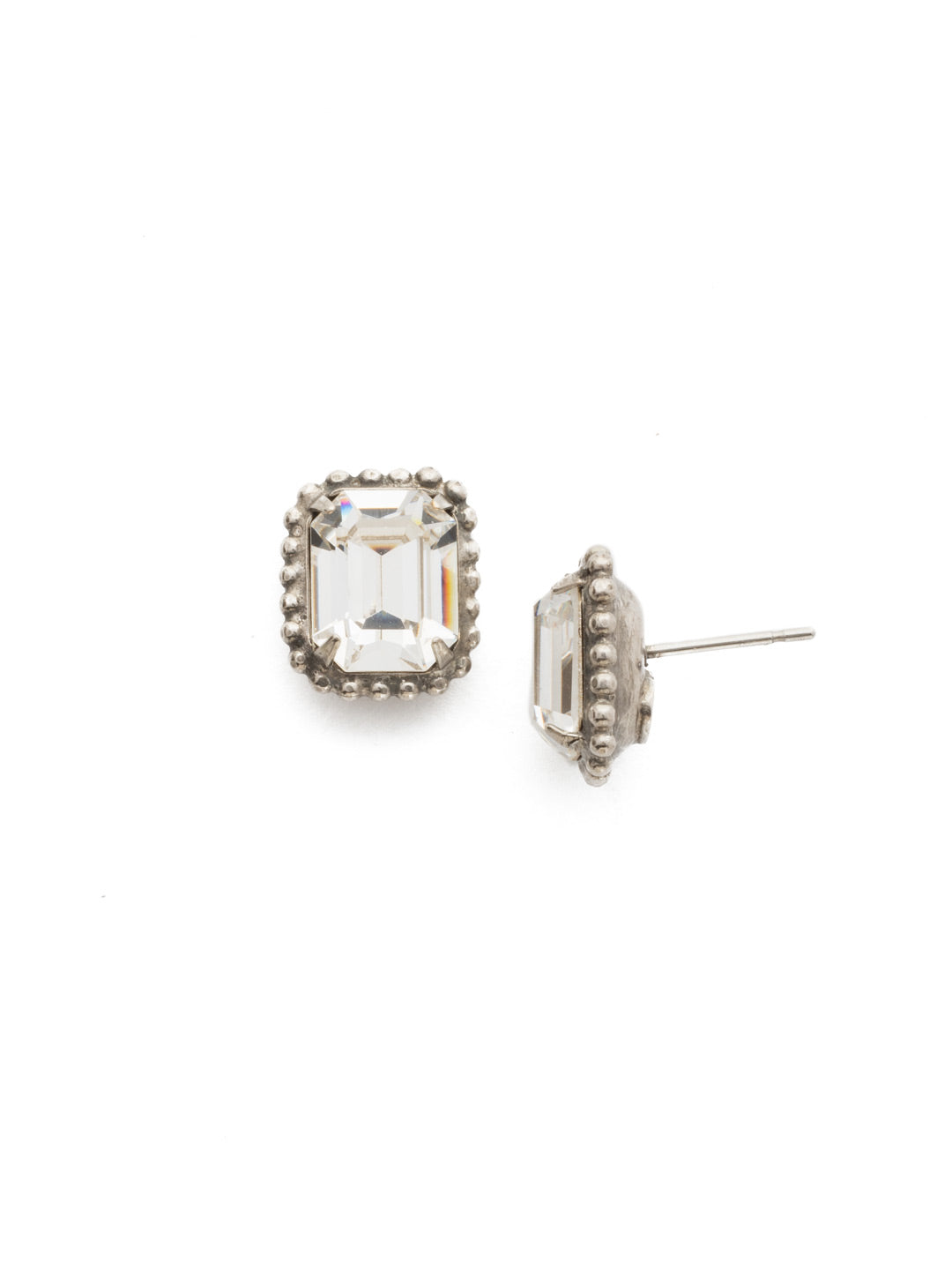 Scalloped Emerald Cut Stud Earring - EBW18ASSNB