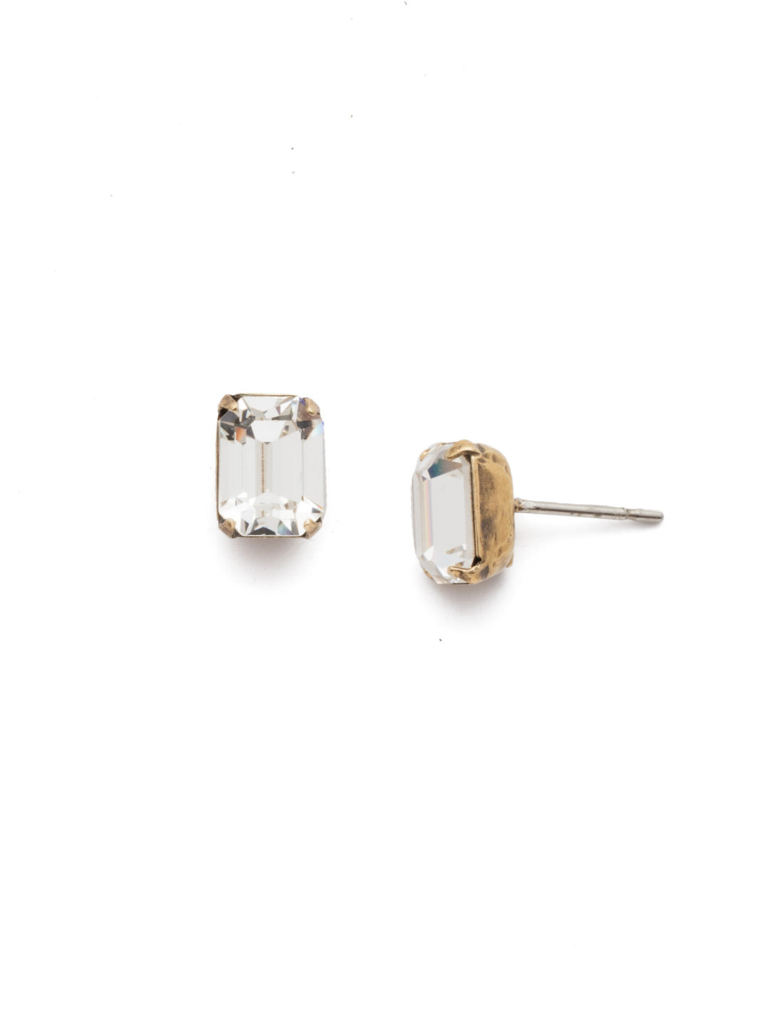Mini Emerald Cut Stud Earrings - EBY42AGCRY