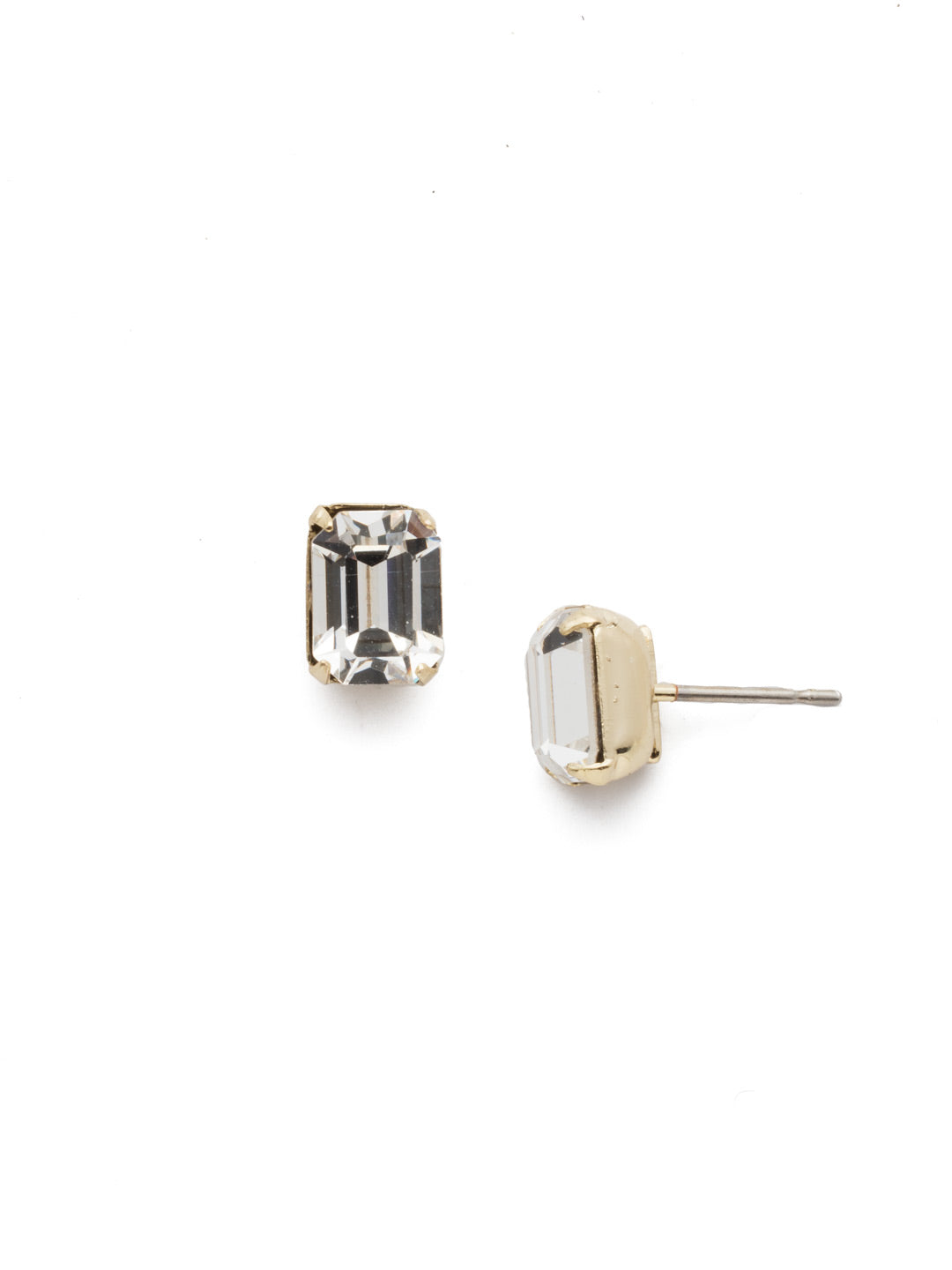 Mini Emerald Cut Stud Earrings - EBY42BGCRY