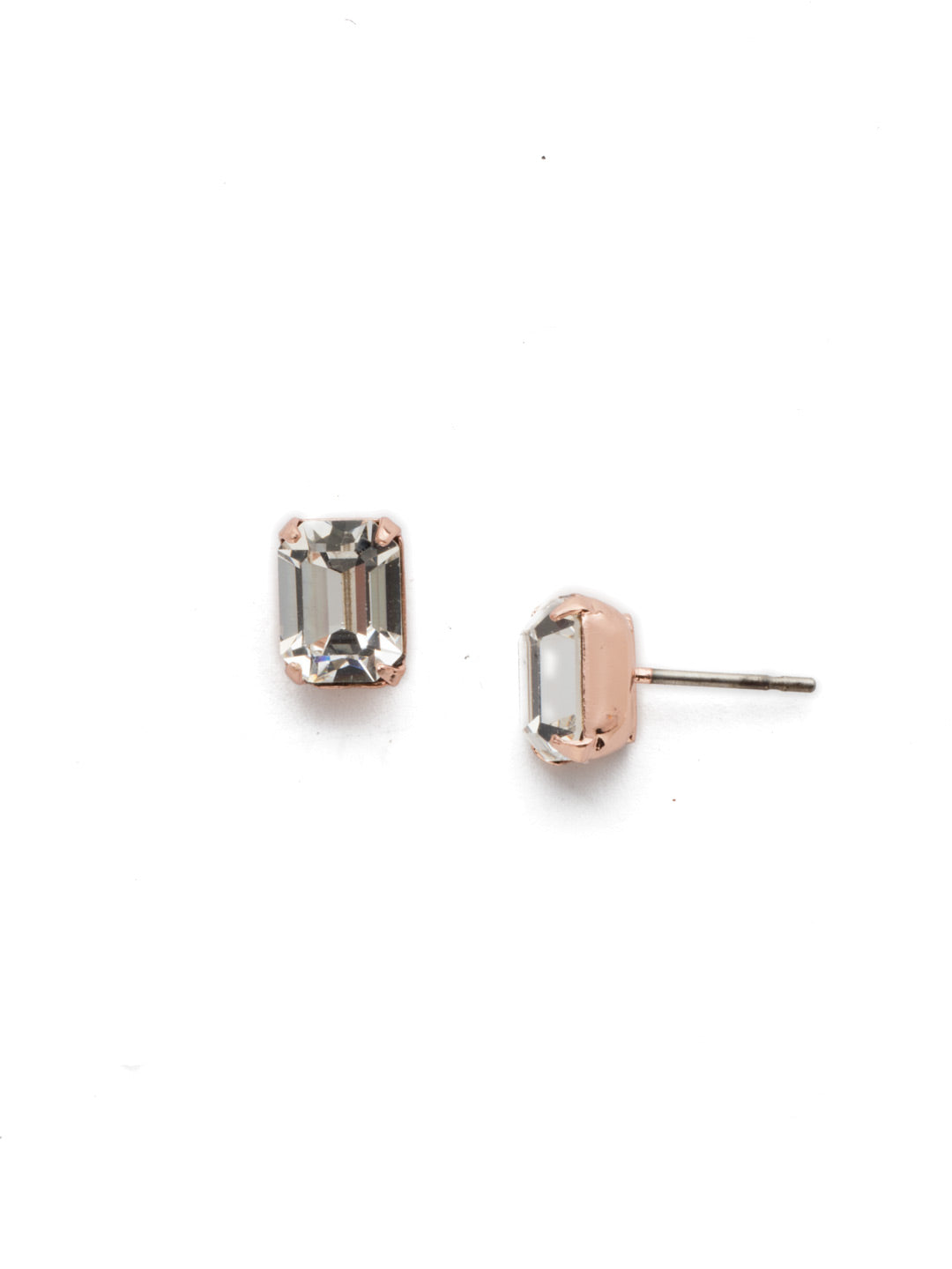 Mini Emerald Cut Stud Earrings - EBY42RGCRY