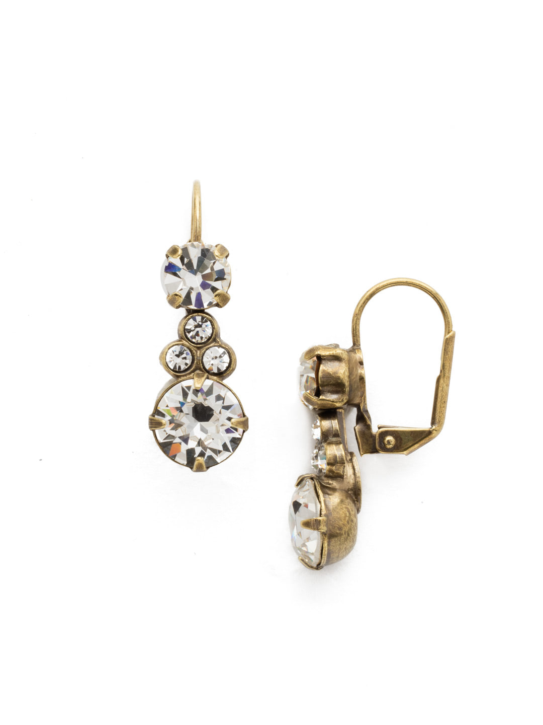 Clustered Circular Crystal Drop Earring - ECJ14AGCRY