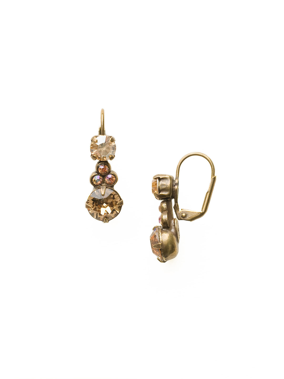 Clustered Circular Crystal Drop Earring - ECJ14AGNT