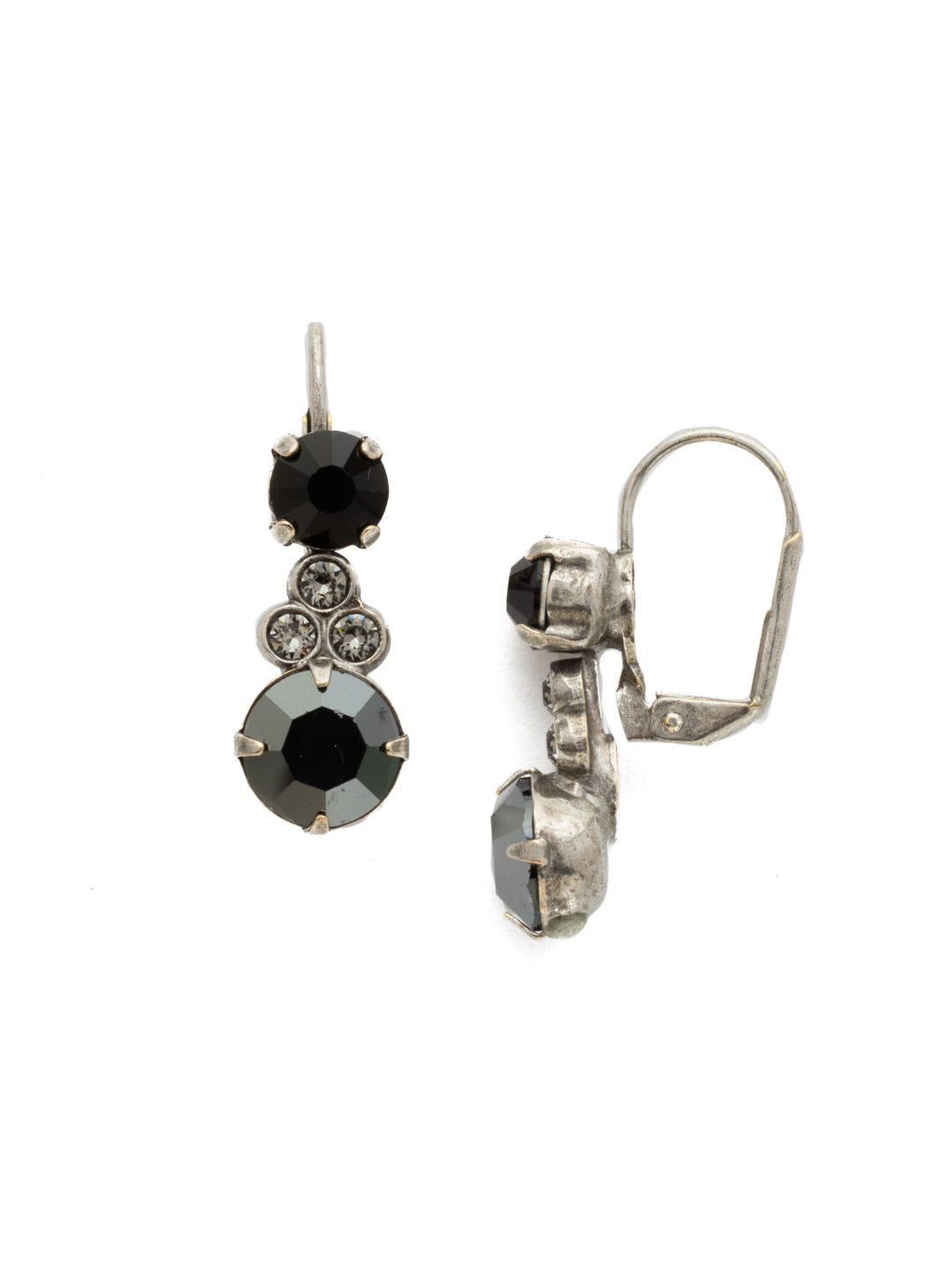 Clustered Circular Crystal Drop Earring - ECJ14ASBON