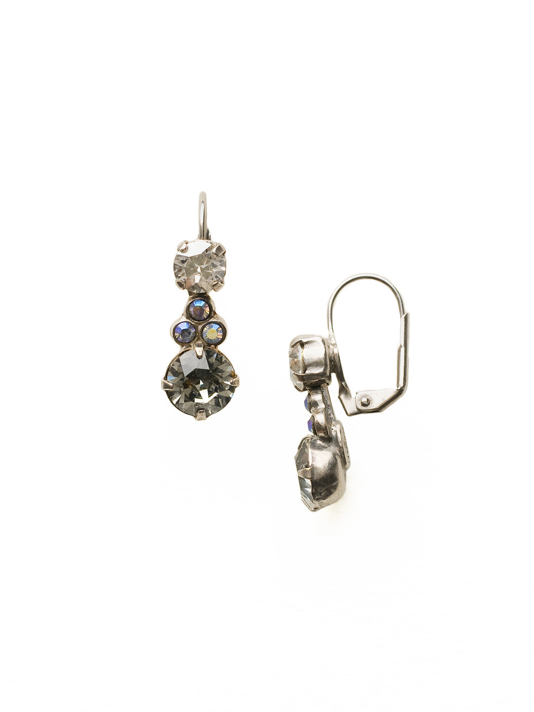 Clustered Circular Crystal Drop Earring - ECJ14ASCRO