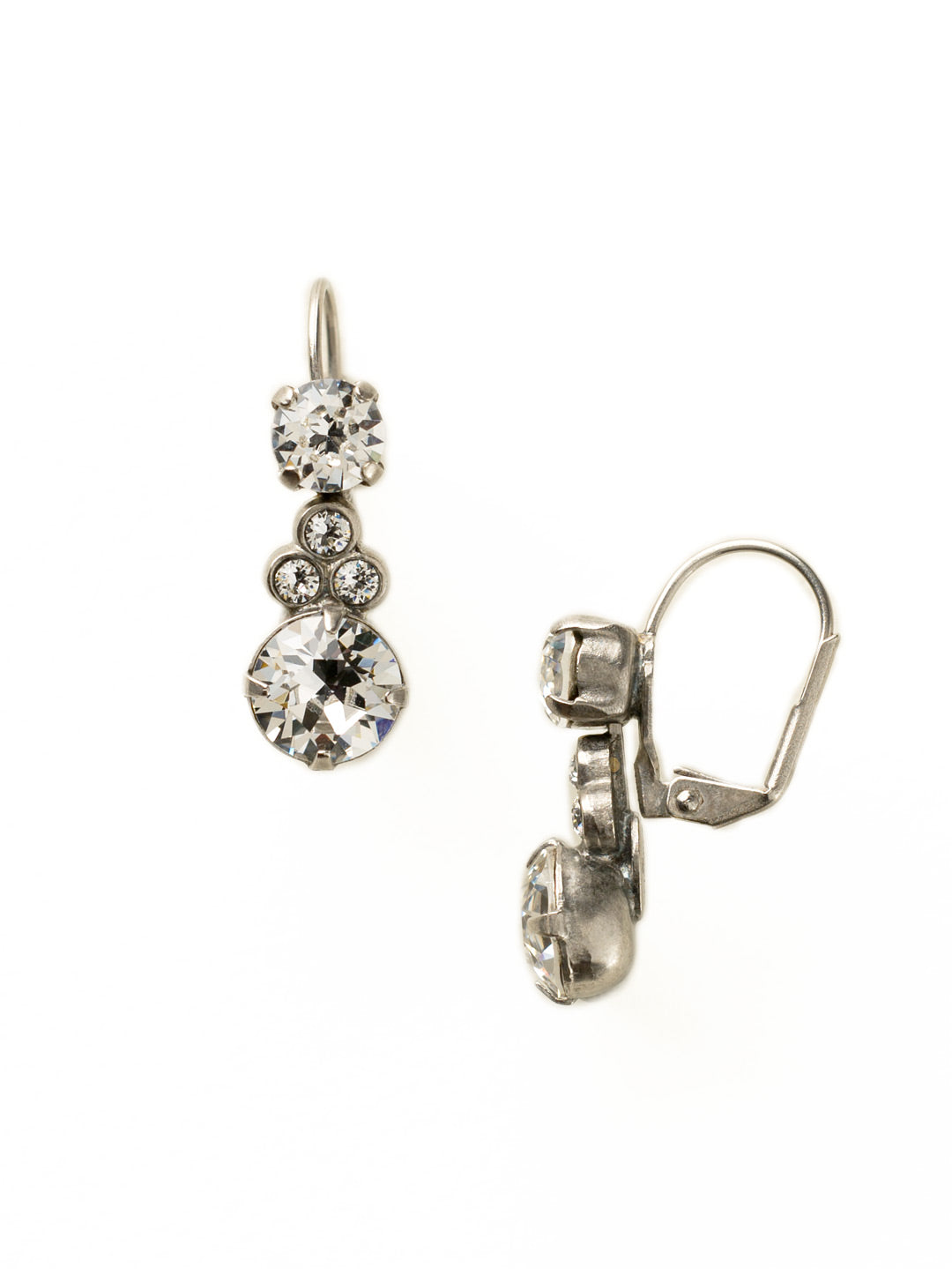 Clustered Circular Crystal Drop Earring - ECJ14ASCRY