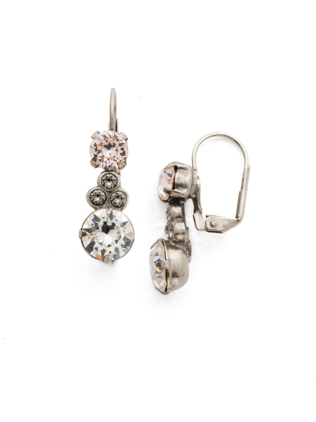 Clustered Circular Crystal Drop Earring - ECJ14ASSNB