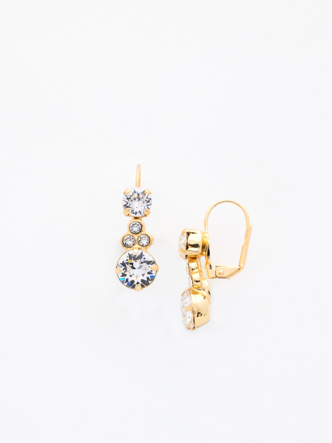 Clustered Circular Crystal Drop Earring - ECJ14BGCRY