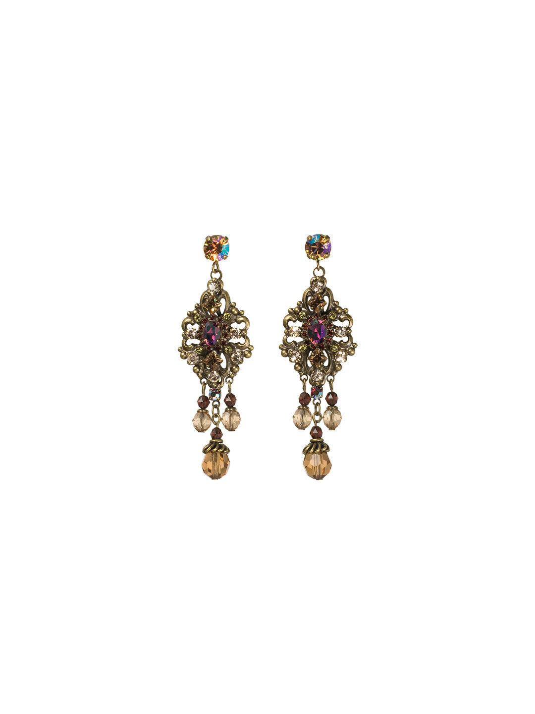 Double Loop Filigree Chandelier Earring - ECJ33AGTAP