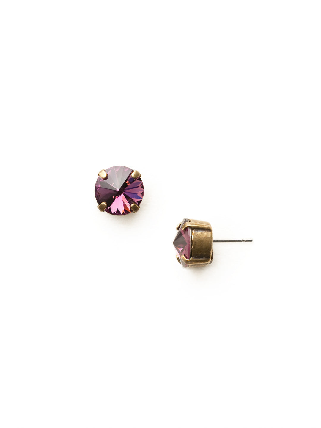 Round Crystal Stud Earrings - ECM14AGAM
