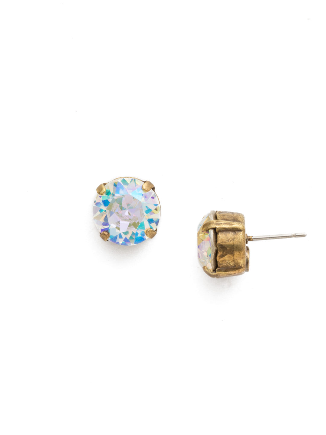 Round Crystal Stud Earrings - ECM14AGCAB