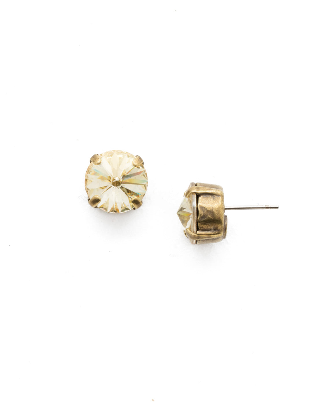 Round Crystal Stud Earrings - ECM14AGCCH