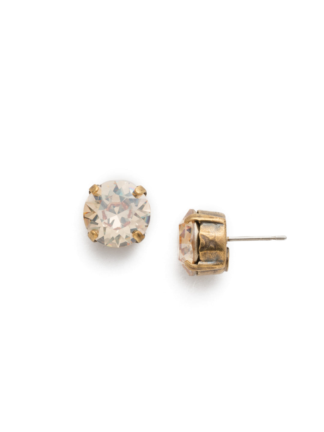 Round Crystal Stud Earrings - ECM14AGDCH