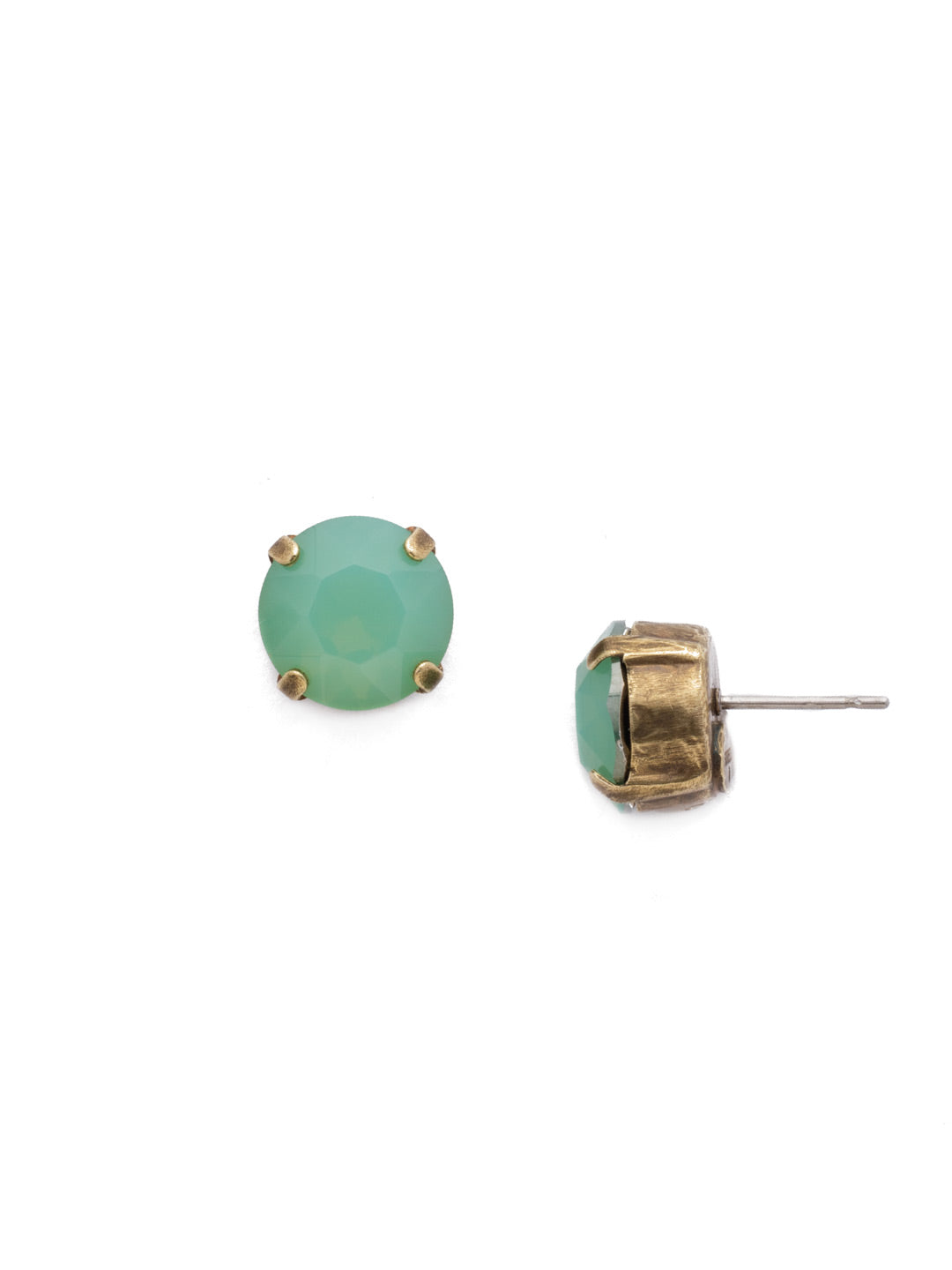Round Crystal Stud Earrings - ECM14AGPAC
