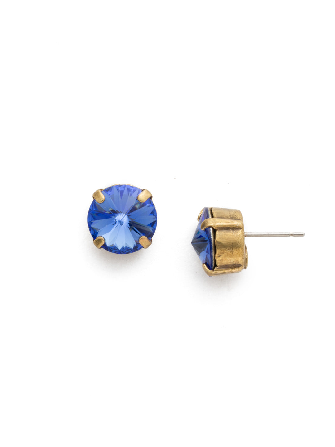 Round Crystal Stud Earrings - ECM14AGSAP