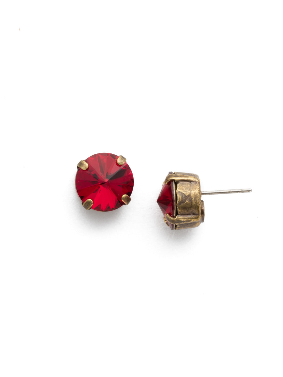 Round Crystal Stud Earrings - ECM14AGSI