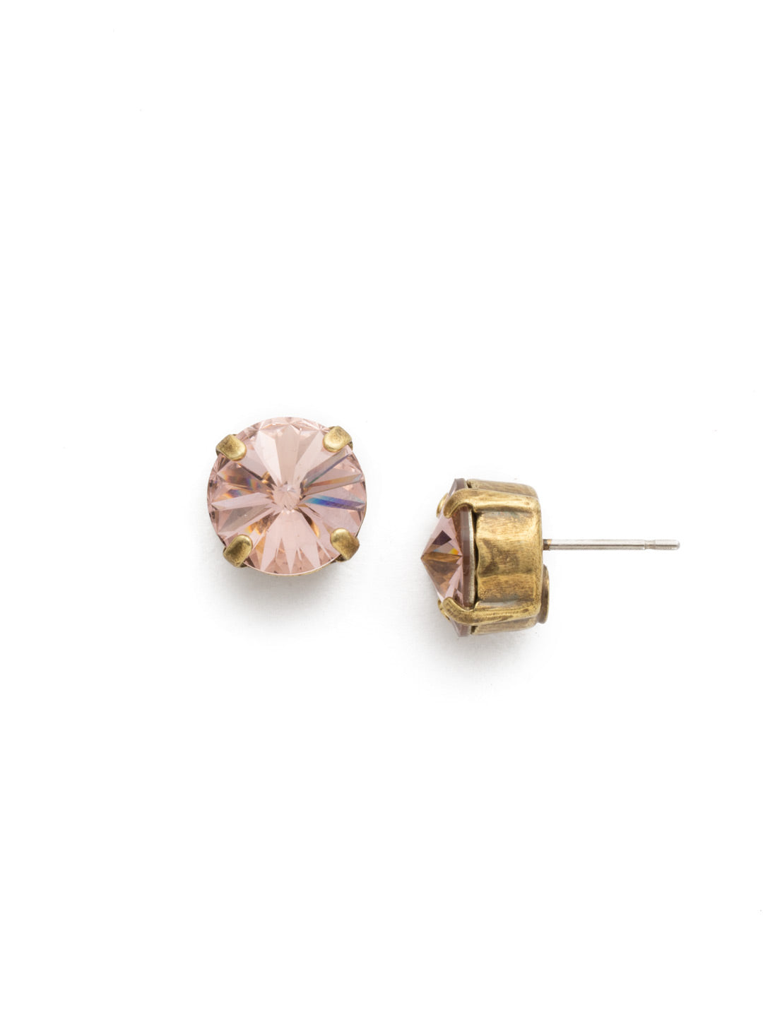 Round Crystal Stud Earrings - ECM14AGVIN