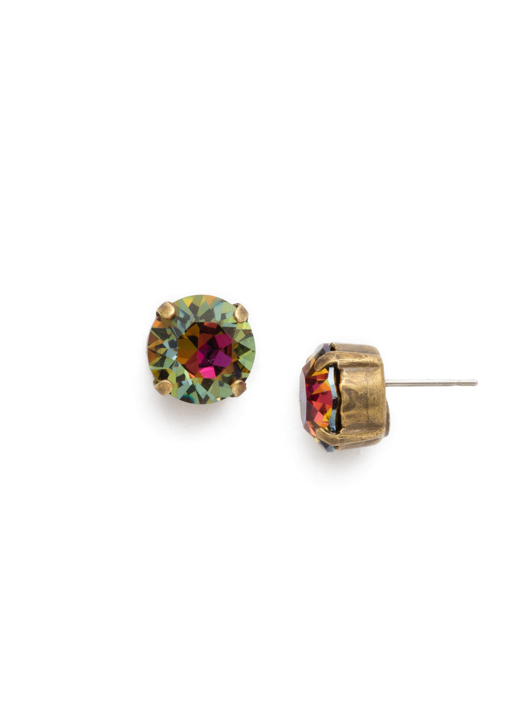 Round Crystal Stud Earrings - ECM14AGVO