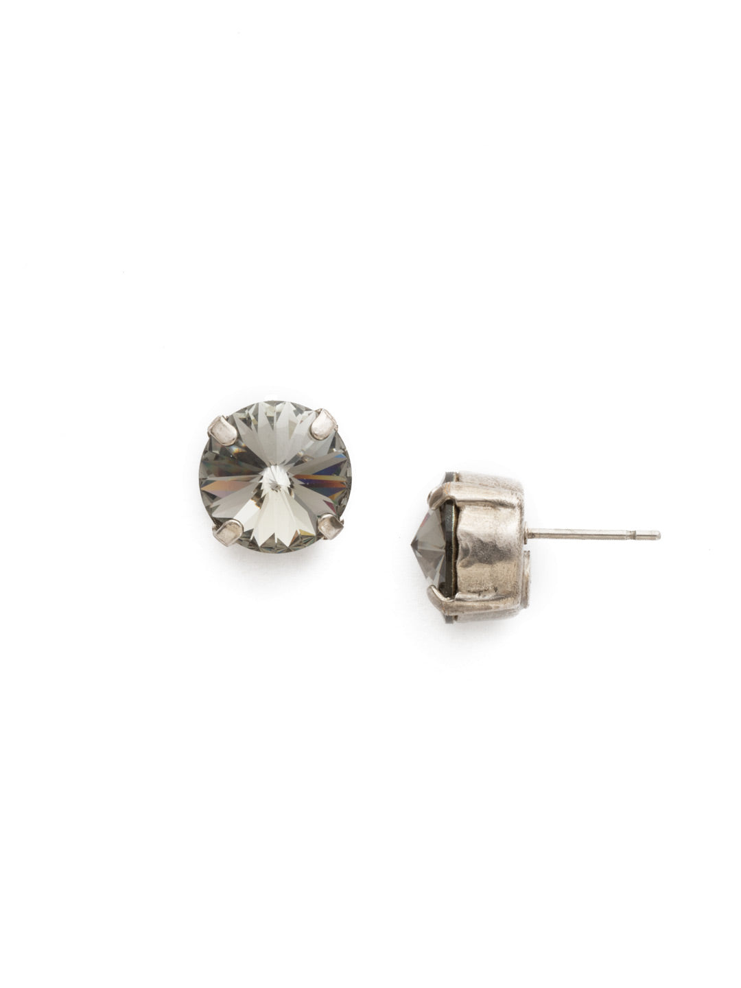 Round Crystal Stud Earrings - ECM14ASBD