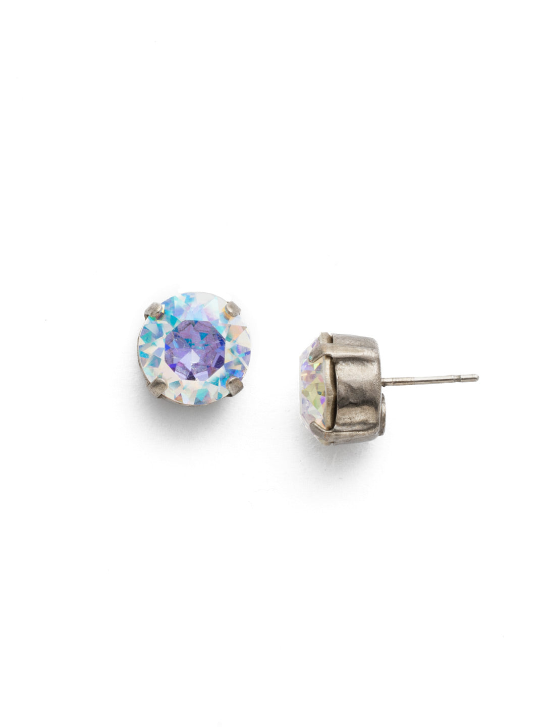 Round Crystal Stud Earrings - ECM14ASCAB