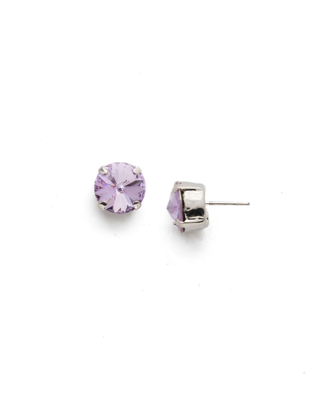 Round Crystal Stud Earrings - ECM14RHTUL