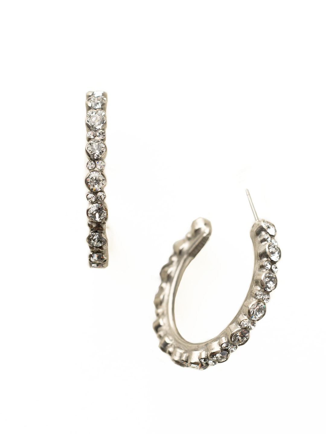 Prongless Crystal Hoop Earring - ECR107ASCRY
