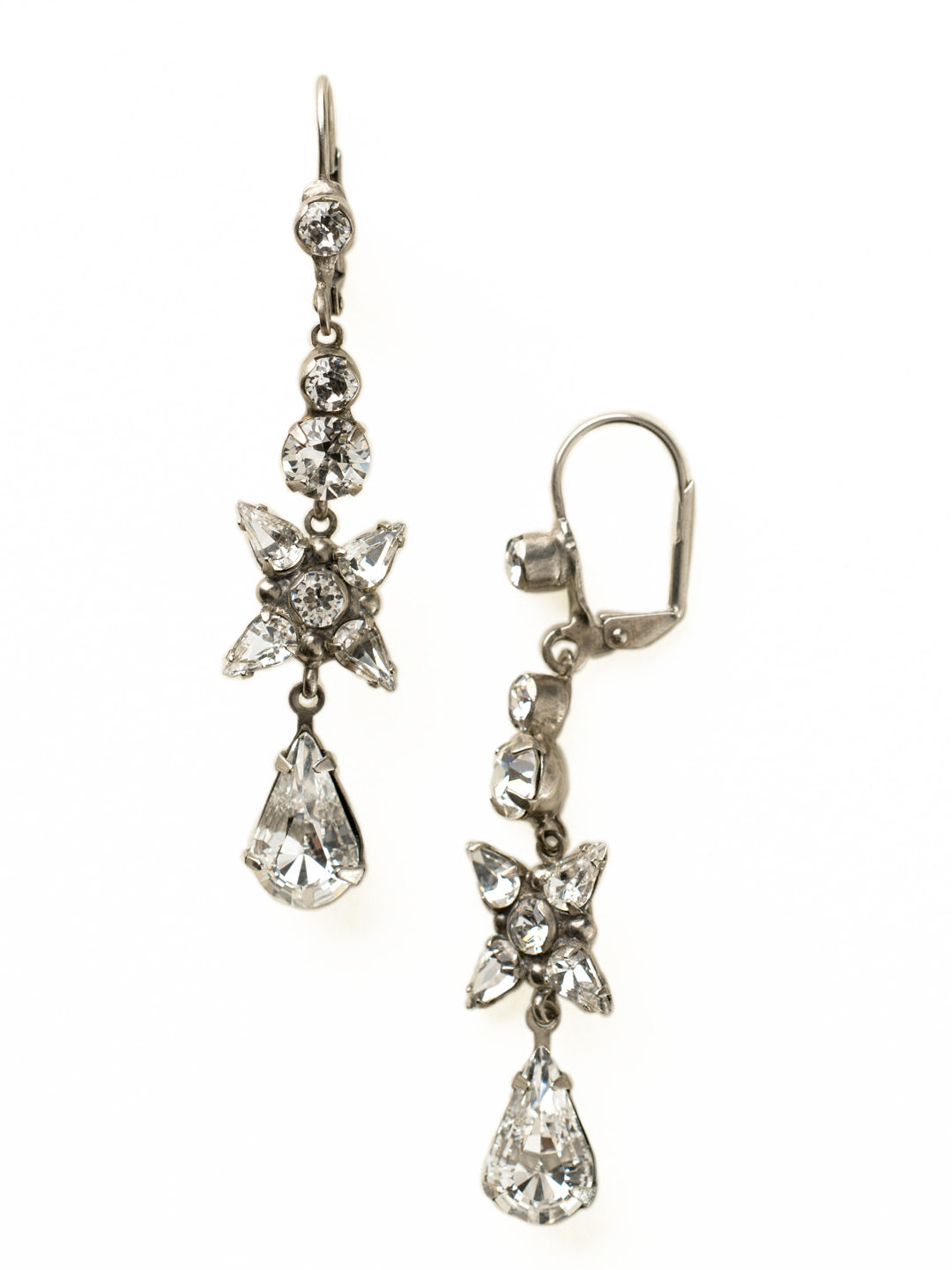 Delicate Flower Crystal Drop French Wire Earring - ECR30ASCRY