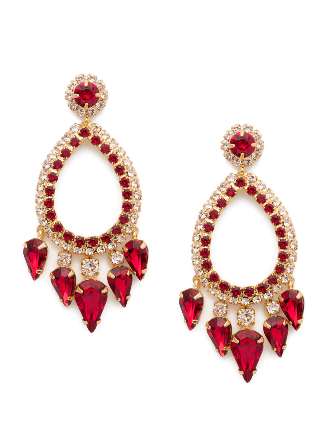 Outlined Teardrop Statement Earrings - ECU21BGSRC