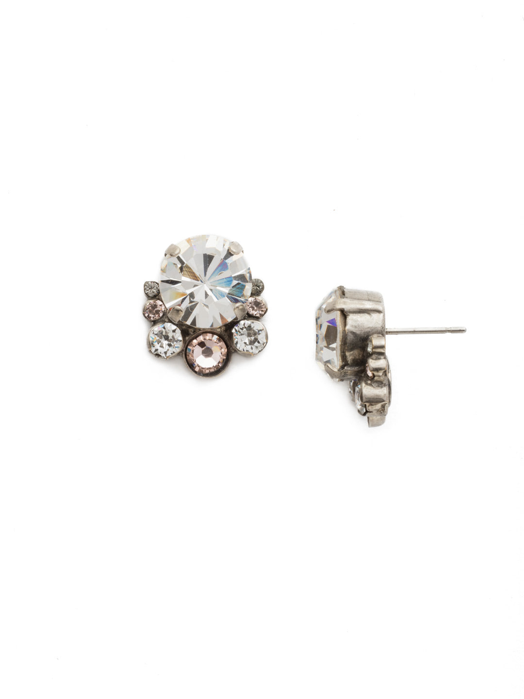 Multi-Cut Round Crystal Cluster Post Earring - ECW11ASSNB