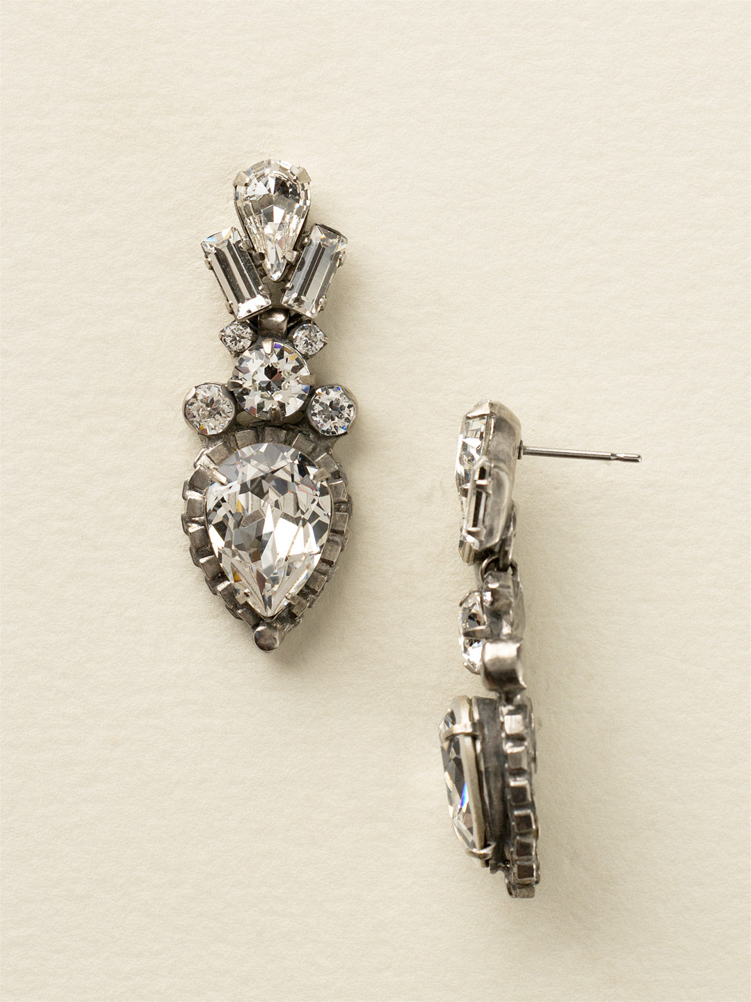 Curb Chain Accented Pear Crystal Dangle Earrings - ECW37ASCRY