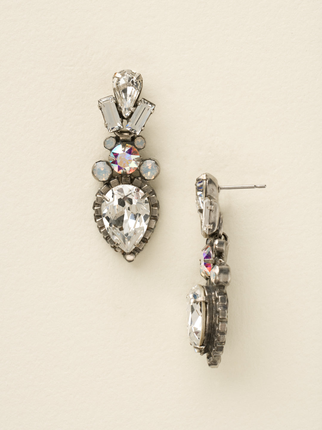 Curb Chain Accented Pear Crystal Dangle Earrings - ECW37ASWBR