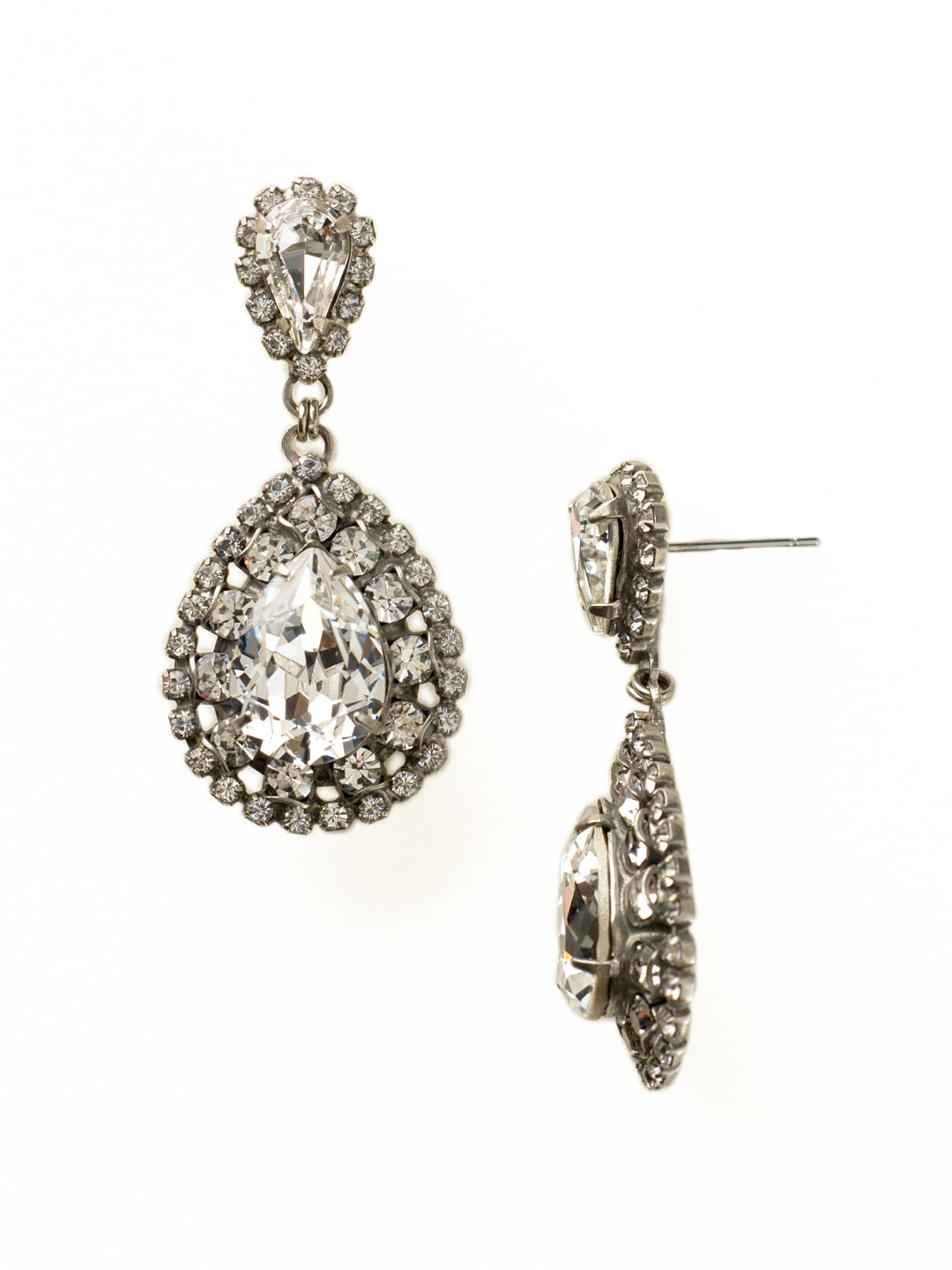 Oval Encrusted Crystal Dangle Earrings - ECW47ASCRY